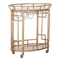 Storage Furniture - The Hayworth I Society Social - gold faux bamboo bar cart, faux bamboo bar cart, vintage gold bar cart,