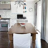 4 Men 1 Lady - kitchens - Benjamin Moore - White Cloud - statuary marble, statuary marble countertops, modern faucet, kitchen faucet, modern kitchen faucet, subway tile, subway tile with dark grout, kitchen subway tile, subway tile backsplash, simply white, simply white cabinets, simply white kitchen cabinets, white cabinets, white kitchen cabinets, kitchen office, pottery barn drapes, pottery barn curtains, pottery barn window panels, pottery barn dupioni silk curtains, pottery barn dupioni silk drapes, pottery barn dupioni silk window panels, dupioni silk pole pocket drapes, dupioni silk pole pocket curtains, platinum gray dupioni silk pole pocket drapes, platinum gray dupioni silk pole pocket curtains, platinum gray curtains, platinum gray drapes, turned legs dining table, dining table with turned legs, room and board chairs, room and board dining chairs, slipcovered captain chairs, orbit chandelier, sputnik pendant, sputnik chandelier,