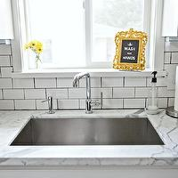 4 Men 1 Lady - kitchens - kohler sink, kohler purist, statuary marble, statuary marble countertops, modern faucet, kitchen faucet, modern kitchen faucet, subway tile, subway tile with dark grout, kitchen subway tile, subway tile backsplash, rococo frame, yellow rococo frame, hood goods frame, wash your hands print, yellow accents, yellow kitchen accents, simply white, simply white cabinets, simply white kitchen cabinets, white cabinets, white kitchen cabinets,