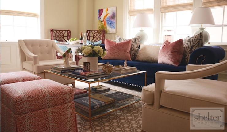 Blue Chesterfield Sofa Contemporary Living Room