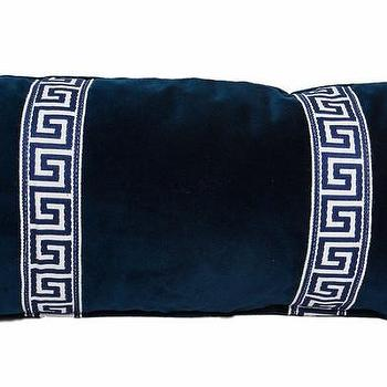 Pillows - Navy Greek Key Lumbar I Society Social - navy blue velvet pillow with greek key trim, navy velvet greek key pillow, navy blue velvet pillow with greek key trim,