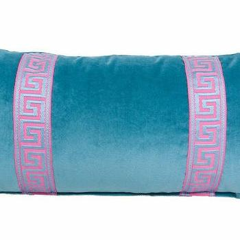 Pillows - Sky Blue Greek Key Lumbar I Society Social - blue velvet greek key pillow, blue velvet pillow with pink greek key trim, blue velvet pillow with pink ribbon trim,