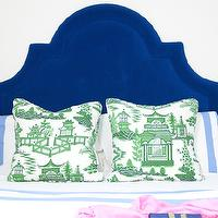 Shelter Interior Design - bedrooms - royal blue headboard, royal blue velvet headboard, blue velvet headboard, blue velvet arched headboard, royal blue velvet arched tufted headboard, white bedding with blue border, white bed linens with blue border, green and white chinoiserie toile pillows, chinoiserie toile pillow, green and white chinoiserie pillow, vintage white table lamp, white walls, blue headboard, velvet headboard, blue velvet headboard,