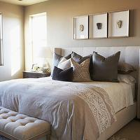 Gorgeous master bedroom with walls painted Sandy Hook Gray by Benjamin Moore. A ...