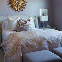 Alice Lane Home - girl's rooms - Benjamin Moore - Mauve Desert - girls bedroom, sophisticated girls bedroom, mauve walls, mauve wall color, upholstered headboard with nailhead trim, white bedding, white bed linens, ivory pillows, ivory and purple floral pillows, gray accent pillow, gold and ivory patterned duvet, mauve upholstered benches, benches at foot of bed, bench at end of bed, sunflower mirror, gold sunflower mirror, nailhead trim nightstand, purple glass table lamp, gold framed vogue print, vogue art, teen girls bedroom, teen girls room, Cooper Wing Queen Bed, mirror over bed, mirror above bed, mirror above headboard, mirror over headboard,