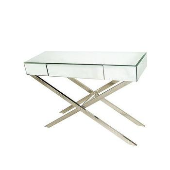 Tables - Cross Leg Mirrored Console | Vielle and Frances - cross leg mirrored console, contemporary mirrored console table, mirrored console table,