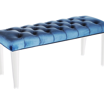 Seating - Hollywood Glamour Bench in Teal | Vielle and Frances - blue tufted velvet bench, bench with acrylic legs, tufted bench with acrylic legs,