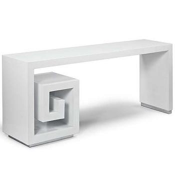 Tables - Greek Maze Console Table | Vielle and Frances - greek key console table, greek key shaped console table, white greek key shaped console table,