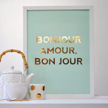 Art/Wall Decor - Bonjour Amour by sarahandbendrix I Etsy - bonjour art workm bonjour framed art, gold and blue framed art,