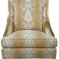 Seating - Vincent Chair | Vielle and Frances - gold chair with ikat fabric, metallic ikat upholstered chair, gold and silver accent chair,