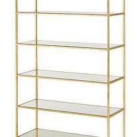 Storage Furniture - Delano Etagere by Currey & Co. I Burke Decor - gold leafed etagere, gold leafed glass framed etagere, gold etagere,