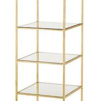Storage Furniture - Delano Etagere Tall by Currey & Co. I Burke Decor - gold leafed etagere, gold leafed glass framed etagere, gold etagere,