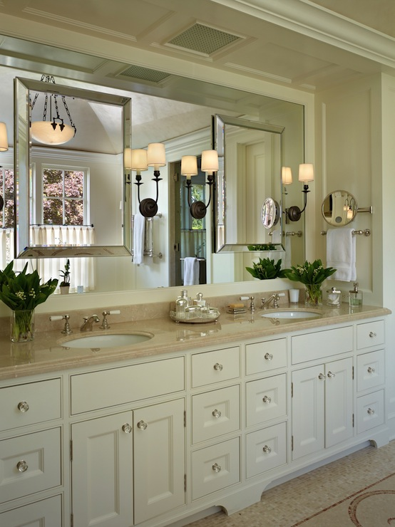 Cream Double Vanity With Crema Marble Countertops And His And Her