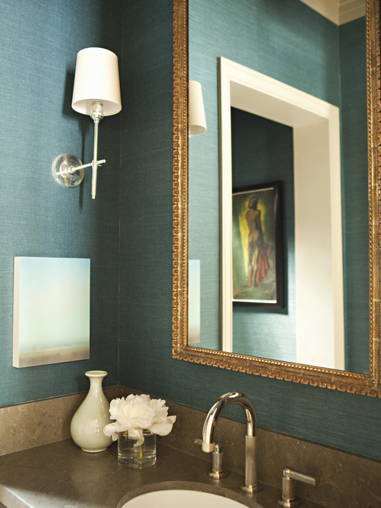 Teal grasscloth wallpaper transitional bathroom tim for Grasscloth wallpaper in bathroom
