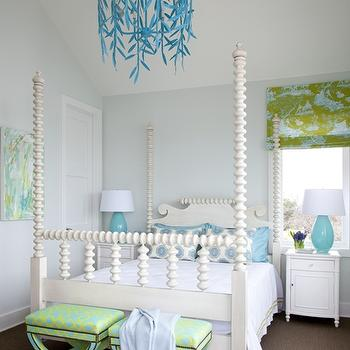 Southern Living - girl's rooms - light blue walls, turquoise and blue girls room, turquoise blue and green girls room, turquoise and green girls room, turquoise and green girls room, turquoise blue and green girls room, turquoise blue and green girls bed room, turquoise and green girls bedroom, turquoise and green girls bedroom, 4 poster bed, four poster bed, white bed, white headboard, white 4 poster bed, white four poster bed, turquoise and green curtains, turquoise and green drapes, turquoise and green roman shade, turquoise and green ottomans, turquoise table lamp, turquoise blue lamp, white nightstands, bamboo nightstands, white bamboo nightstands, stray dog lamps, stray dog chandeliers, stray dog designs chandeliers, girls beds, girls lamps, girls nightstands, , Stray Dog Designs Willow Chandelier,