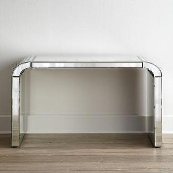 Tables - Arcadia Mirrored Console I Horchow - mirrored console, mirrored console table, curved top mirrored console,