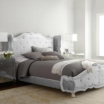 Beds/Headboards - Haute House Silver Tabitha Tufted Bed I Horchow - silver tufted headboard, silver tufted bed, silver velvet tufted bed, silver button tufted bed, silver velvet button tufted bed,