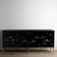 Tables - John-Richard Collection Marla Console I Horchow - black console with gold bird detail, black console with gold bird motif,