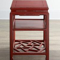 Tables - Antique Red Side Table I Horchow - red asian side table, red side table with lattice-style shelf, asian side table,