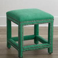 Seating - Lee Industries Cloverly Stool I Horchow - emerald green stool, green stool, emerald green stool with nailhead trim,