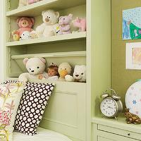 Tim Barber - girl's rooms - girls bedroom, kids built-ins, built-ins in kids room, pull out nightstand, teddy bear storage, stuffed animal storage, pastel green, pastel green built-ins, powder green built-ins, pinboard, pin board, memo board, brown and white geometric pillow, green and pink floral pillow, girls room, girls bedroom, custom built-ins, shelves, built-in shelves, bookcase headboard, headboard bookcase,