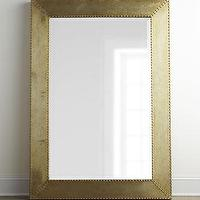 Mirrors - Rashane Metal Mirror I Horhcow - metal framed mirror, modern metal mirror, aluminum mirror with nailhead trim, silver champagne finished mirror,