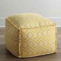 Seating - Lee Industries Cortez Ottoman I Horhcow - yellow and white geometric pouf, yellow and white geometric ottoman, yellow pouf, yellow ottoman,