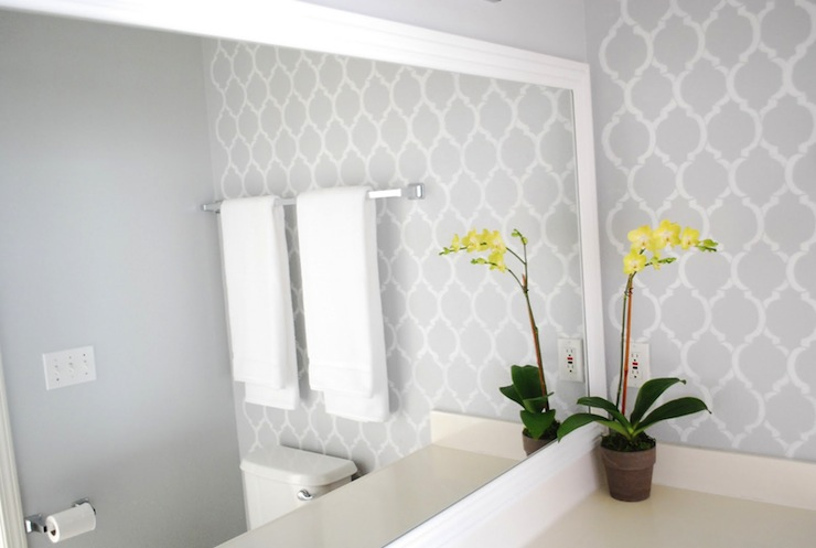 moroccan wall stencil contemporary bathroom valspar
