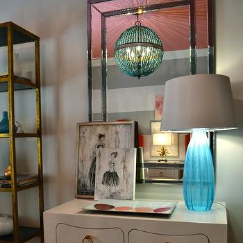 Summer House Style - girl's rooms: striped walls, painted striped walls, gray and white striped walls, gray and white painted striped walls, gray and white striped headboard wall, girls bedroom, turquoise beaded chandelier, turquoise beaded orb chandelier, pink ceiling, painted pink ceiling, leaning art, blue glass lamp, antiqued gold bookshelves, antiqued gold etagere, Jacqui 4-Drawer Side Table, Alberto Orb Chandelier,
