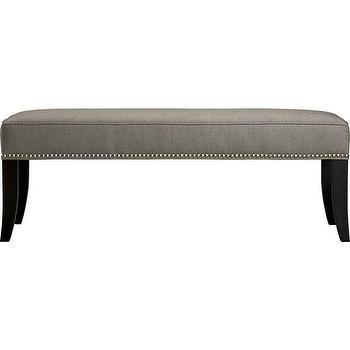 Seating - Colette Bench | Crate and Barrel - gray linen bench with nailhead trim, gray bench with nailhead trim, upholstered bench with nailhead trim,