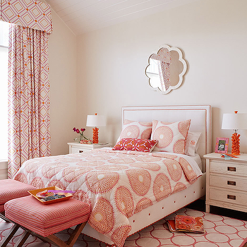 Andrew Howard interior Design - girl's rooms - pink and orange bedroom, girls room, girls bedroom, pink and orange girls room, pink and orange girls bedroom, vaulted ceiling, tan walls, capiz mirror, made goods mirror, scalloped mirror, scalloped capiz mirror, white headboard, white and pink bed, white and pink headboard, white and orange bedding, white and orange duvet, white and orange duvet, embroidered pillows, pink lumbar pillow, pink embroidered pillow, x bench, pink x bench, rug under bed, pink rug, girls rug, girls beds, girls headboards, pink circles rug, cornice box, geometric cornice box, girls cornice box, white and pink cornice box, white and pink geometric cornice box, geometric curtains, girls curtains, white and pink curtains, white and pink geometric curtains, geometric drapes, girls drapes, white and pink drapes, white and pink geometric drapes,