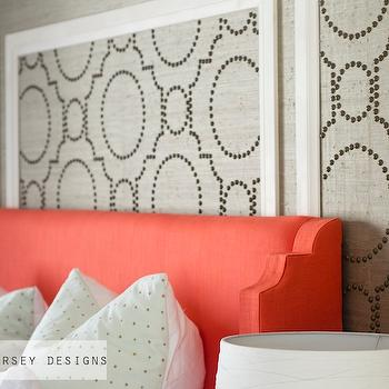 Sarah M. Dorsey Designs - bedrooms - coral headboard, upholstered headboard, coral upholstered headboard, coral fabric headboard, grasscloth, gray grasscloth, grasscloth wallpaper, gray grasscloth wallpaper, grasscloth wall panels, studded wall panels, studded grasscloth panels, coral colored headboard, wingback headboard, coral wingback headboard, sherwin williams grasscloth wallpaper, Sherwin-Williams Coastal Cool Wallpaper Collection, Threshold Natural Core Solid Window Panel,