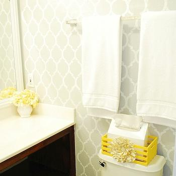 Gray and Yellow Bathroom, Contemporary, bathroom, Valspar Chromium, A Pumpkin and a Princess