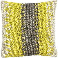 Pillows - Beaded Pillow | Crate and Barrel - beaded yellow and taupe pillow, yellow and taupe pillow, yellow and taupe beaded ikat pillow,