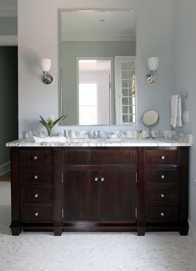 Espresso Vanity With Marble Countertop Traditional