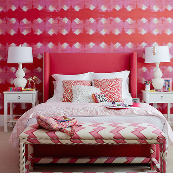Andrew Howard interior Design - girl's rooms - pink and red girls room, pink and red girls bedroom, pink and red teens room, pink and red teens bedroom, pink and red walls, red headboard, teen girls headboard, wingback headboard, red wingback headboard, nailhead headboard, red nailhead headboard, red headboard with nailhead trim, teen s headboards, teen girls headboard, teen girls room, teen girls bedroom, red zebra pillows, pink duvet cover, pink lattice duvet, bungalow 5 nightstands, white nightstands, chinoiserie nightstands, white chinoiserie nightstands, harlow side table, harlow 1 drawer side table, white table lamps, double gourd lamps, white gourd lamps, white double gourd lamps, bench at foot of bed, chevron bench, upholstered bench, white and pink chevron bench, nailhead bench, chevron bench with nailhead trim, pink chevron bench,