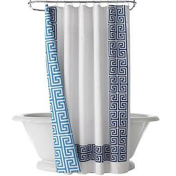 Bath - Happy Chic by Jonathan Adler Elizabeth Shower Curtain I jcpenney - blue and white greek key shower curtain, greek key shower curtain, modern greek key shower curtain,