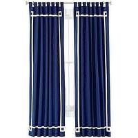 Window Treatments - Happy Chic by Jonathan Adler Elizabeth Canvas Curtain Panel I jcpenney - navy blue drapes with white grosgrain ribbon trim, navy blue drapes with white ribbon trim, navy blue curtains with white ribbon trim, navy blue curtains with white grosgrain ribbon trim,