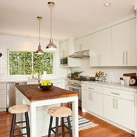 Simo Design - kitchens - L-shaped kitchen, white kitchen cabinets, white cabinetry, white kitchen, marble counters, marble countertops, white kitchen island, kitchen island, butcher block kitchen island, butcher block, butcher block counter, butcher block kitchen counter, brushed nickel hardware, stainless steel appliances, dishwasher, stainless steel dishwasher, stainless steel fridge, fridge, refrigerator, built-in microwave, overhead microwave, polished nickel pendants, pendant lighting over island, white subway tile, subway tiled backsplash, subway tile, subway tile backsplash, stainless steel oven hood, chalkboard, chalkboard painted wall, chalkboard wall in kitchen, ceiling height cabinets, ceiling height cabinetry, backless stools, backless barstools, burlap covered barstools, chalk board paint, black chalkboard wall, recessed lighting, pot lights, kitchen accent wall, chalkboard accent walls, kitchen chalkboard wall,