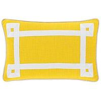 Bedding - Happy Chic by Jonathan Adler Lola Oblong Pillow I jcpenney - yellow and white pillow, yellow pillow with white grosgrain ribbon trim, bright yellow pillow with white ribbon border,