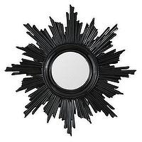Mirrors - Leona Mirror - Black | Z Gallerie - black sunburst style mirror, round black ray mirror, round mirror with black fluted frame,