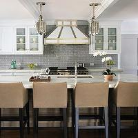 Andrew Howard interior Design - kitchens - montauk pendants, montauk small pendants, kitchen island pendants, x base kitchen island, marble top kitchen island, kitchen island sink, swoop arm barstools, upholstered bar stools, upholstered barstools, upholstered counter stools, studded bar stools, studded barstools, studded counter stools, glass front kitchen cabinets, white cabinets, white kitchen cabinets, marble countertops, marble countertops, gray tile backsplash, gray tile kitchen, gray tile kitchen backsplash, staggered tile, staggered tile backsplash, brick tile, brick tile backsplash, gray staggered tile, gray staggered tile backsplash, gray staggered kitchen backsplash, gray brick tile, gray brick tile backsplash, gray brick kitchen backsplash, kitchen hood, white kitchen hood, 6 burner gas range, wolf range, Ralph Lauren Home Montauk Small Pendant,