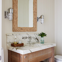 Andrew Howard interior Design - bathrooms: beadboard walls, beadboard bathroom, white beadboard bathroom, beadboard ceiling, bathroom beadboard ceiling, beadboard bathroom ceiling, driftwood mirror, rectangular driftwood mirror, marine sconces, marble sink, marble bathroom sink, marble top vanity, vanity with marble top, bathroom vanity with marble top, bathroom vanity with marble top, marble top vanity, wall mounted faucet, wood floors, bathroom with wood floors, hardwood floor bathroom, bathroom art, framed tortoise shell, shadow box tortoise shell,