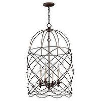 Lighting - Andalla Chandelier | Z Gallerie - wrought iron chandelier, wrought iron cage chandelier, wrought iron oiled bronze cage chandelier, caged pendant, wrought iron caged pendant,