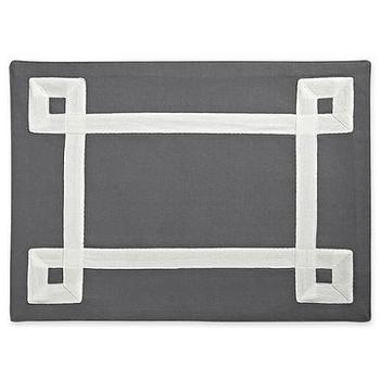 Decor/Accessories - Happy Chic by Jonathan Adler Elizabeth Fabric Placemat I jcpenney - gray placemat with white grosgrain ribbon trim, gray placemat with white inset border, modern gray and white placemat,