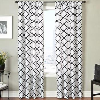 Window Treatments - Trellis Rod-Pocket Curtain Panel I jcpenney - white drapes with black trellis pattern, white curtains with black trellis pattern, white and black trellis curtains, white and black trellis drapes,
