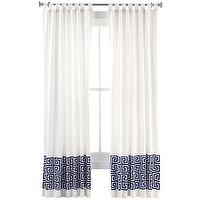 Window Treatments - Happy Chic by Jonathan Adler Elizabeth Faux-Linen Curtain Panel I jcpenney - white faux linen drapes with greek key banding, white drapes with blue greek key banding, white curtains with blue greek key banding, white drapes with greek key trim,