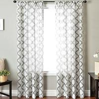 Window Treatments - Princeton Rod-Pocket Sheer Panel I jcpenney - white sheers with gray geometric pattern, white sheers with jacquard pattern,