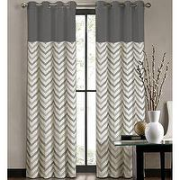 Window Treatments - Colordrift Tribal Stripe Grommet-Top Curtain Panel I jcpenney - gray and ivory zig zag print drapes, gray and ivory zig zag print curtains,