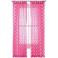 Window Treatments - Happy Chic by Jonathan Adler Katie Sheer Curtain Panel I jcpenney - pink geometric print sheers, pink and white geometric sheer panels,